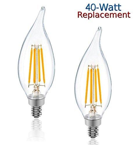 4 Pack 4w Led Filament Candelabra Bulb 40w Incandescent: Luxrite LR21250 2-Pack 4W LED Filament Candelabra Bulb