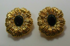 Vtg Signed KJL For Avon Clear Rhinestone & Black Stone Flower Clip On Ea... - $44.55