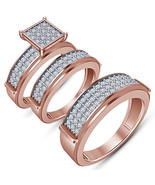 His & Hers Engagement Ring Wedding Band Trio Set 14k Rose Gold Plated 92... - $158.44