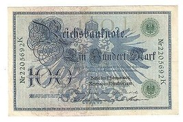 Germany German Empire 100 Mark 1908 Reichsbanknote Green Seal & Ser. 220... - $8.87
