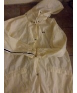 Vintage Womans Nikes Rain Jacket  16 18 Cream with Black Stripe Hood Mes... - $24.74