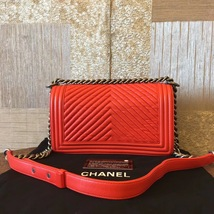 AUTHENTIC CHANEL RED LEATHER CHEVRON QUILTED MEDIUM BOY FLAP BAG RHW image 2