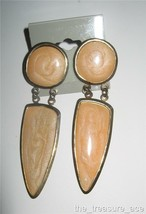 "BOHO~Brass Metal TAN Marble Enamel~3""~DANGLE Pierced Earrings~RETRO~ EP089~ - $4.88"
