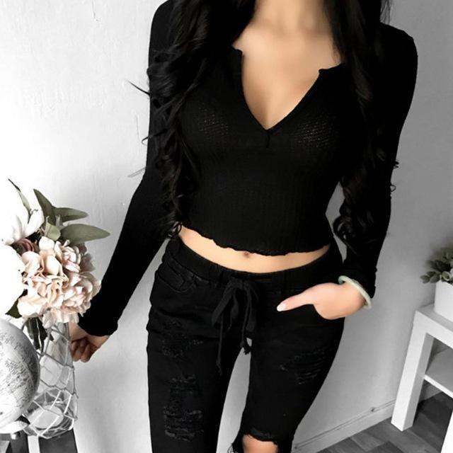 2018 Spring Sexy Women Deep V Neck Long Sleeve Slim Fit Crop Tops Casual Party C image 6