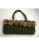 EARTH AXXESSORIES Green Velvet  Fabric Pom Pom Handbag Purse Bag Funky - $23.36
