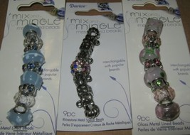 27 Metal Lined Glass Bead Lot 3 Sets Pink Blue Silver Lg Hole Spacer Mix... - $8.90