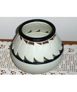 Partylite Candle Holder Bowl  Votive White Porcelain  Native American St... - $24.99