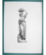 YOUNG MAIDEN Fruit Gatherer Sculpture - SUPERB 1850s Antique Print - $6.75