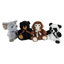 9 in. Plush Sitting Bear, Elephant, Monkey and Panda Stuffed Animal Figu... - $65.54