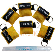 100PCS CPR MASK WITH KEYCHAIN CPR FACE SHIELD AED YELLOW POUCH CPR 30:2 AED - $158.00