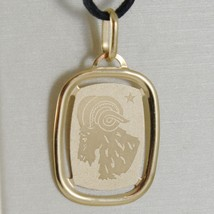 SOLID 18K YELLOW GOLD ZODIAC SIGN MEDAL PENDANT, ZODIACAL, ARIES, MADE IN ITALY image 1