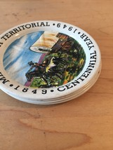 Vintage 40s Minnesota Territorial/Centennial 1849-1949 tin 4 coaster set image 4
