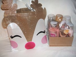 Bath & Body Works RAINDEER Special Tote gold white face glitter bag with gold ra - $49.99