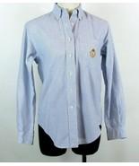 RALPH LAUREN Size 4 Petite Blue Striped Oxford Crest Shirt Blouse - $16.99