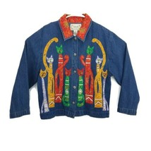VTG 80s Tantrums Blue Jean Jacket Colorful Brocade Cats L/S Button Up Wo... - $31.68