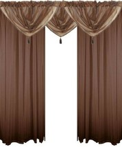Chocolate Brown 5 Piece Voile Set Rod Pocket Curtains Drapes & Swags - 4 Sizes - $27.03+