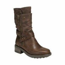 Carlos by Carlos Santana Women Sawyer Leather Almond Toe Dark Brown Boots  - $62.99