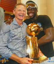 Steve Kerr Signed Warriors 2017 NBA Champs Holding Trophy With Draymond ... - $145.00