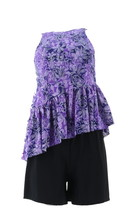 Fit 4 U High Neck Diagonal Ruffle Tankini Short Purple 18W NEW A350542 - $38.59