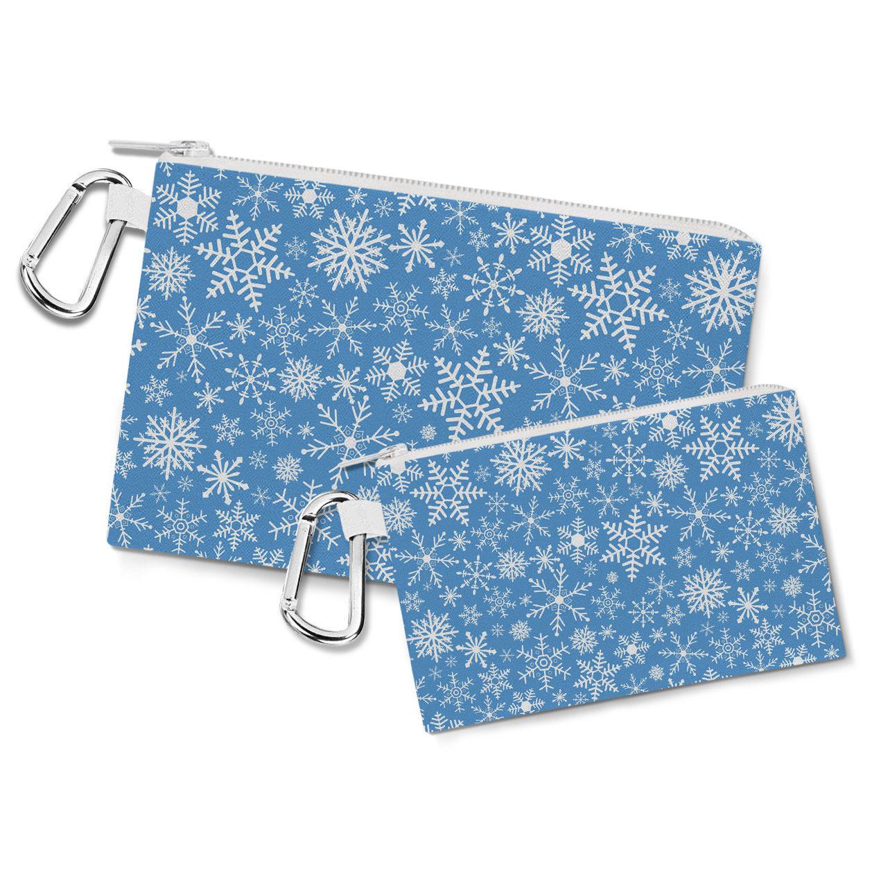 Snow Flakes Canvas Zip Pouch