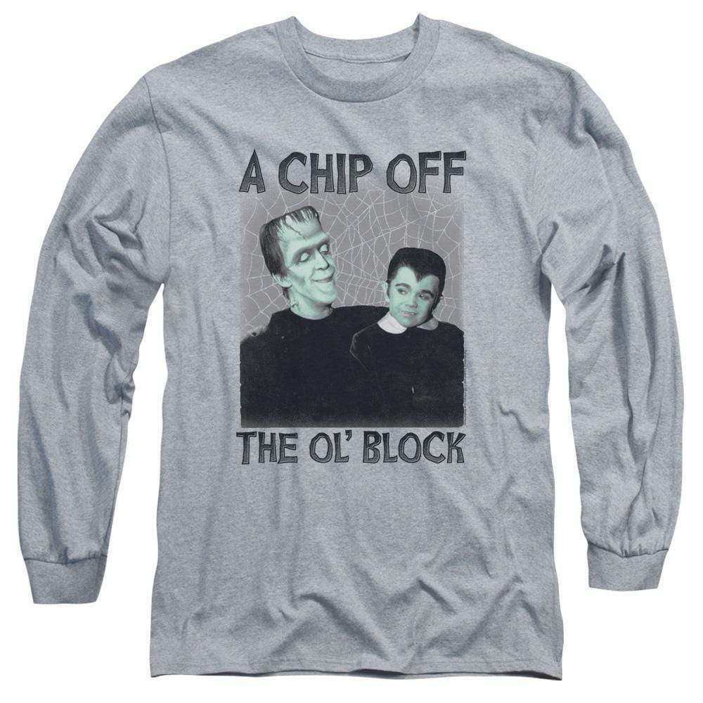The Munsters t-shirt retro Chip Off the Ol' Block long sleeve gray tee NBC908