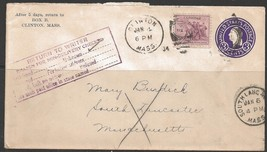 "1934 Clinton Mass (Jan 4) ""Return to Writer"" PO stamp, So. Laucaster rec... - $4.00"