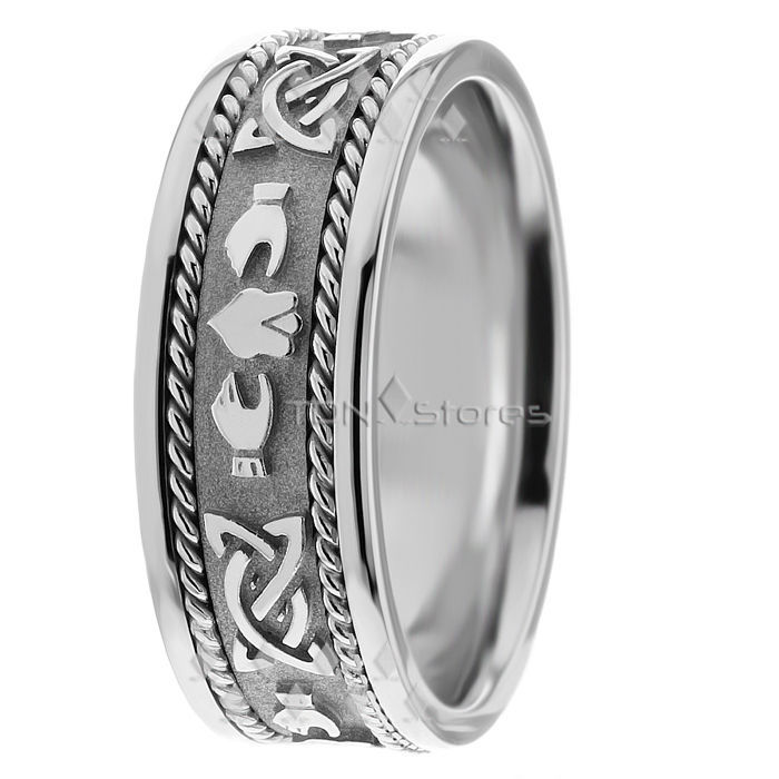 14K Gold Celtic Knot Claddagh Wedding Ring Band Mens Womens Celtic Wedding Rings