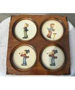 Hummel Goebel Porcelain  Little Music Maker 4 Mini Plates And Wood Frame - $44.99