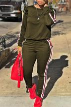 Casual Striped Flounce Design Army Green Two-piece Pants Set - $35.96
