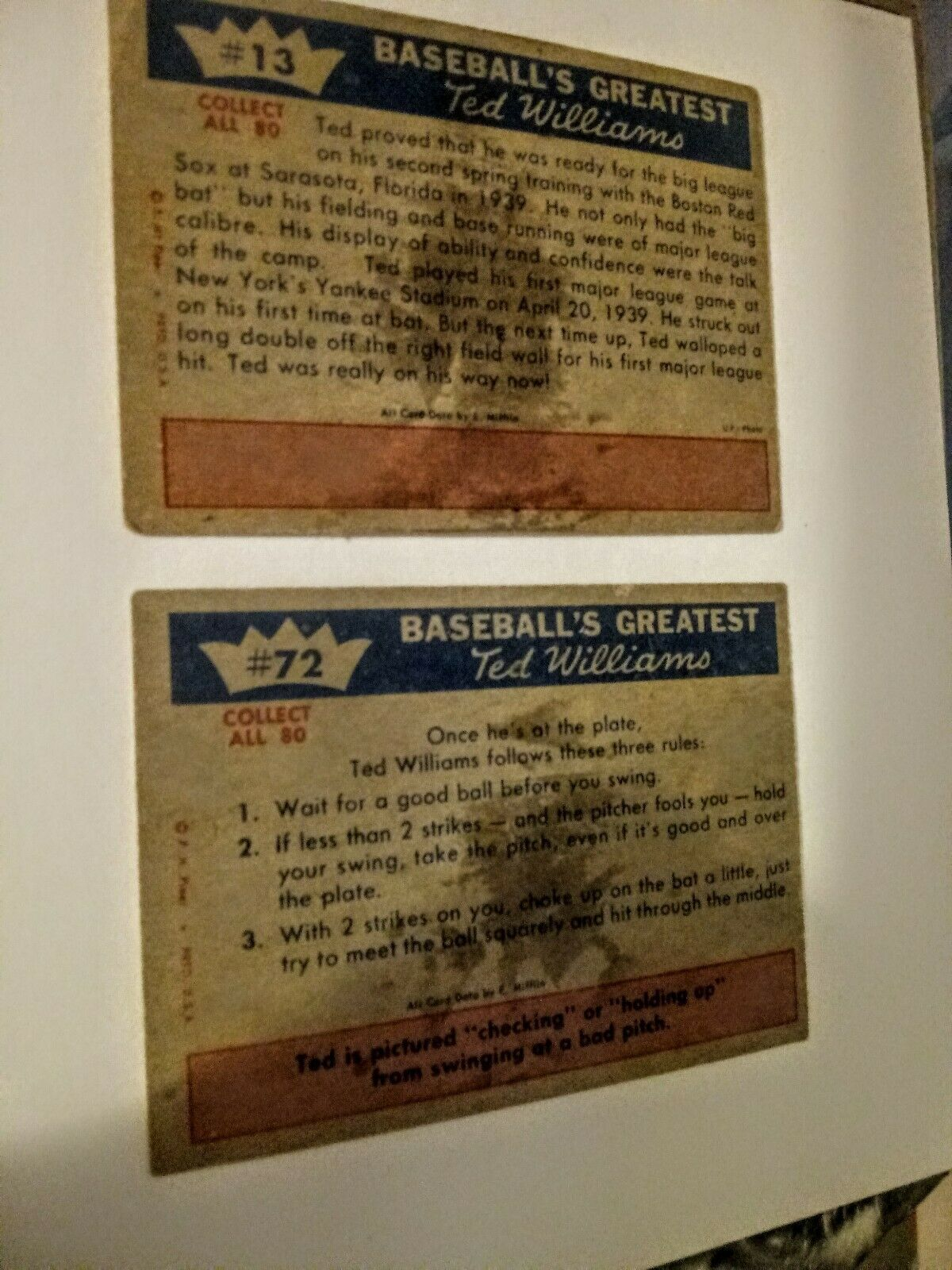 Ted Williams 1960 Fleer Cards. 2 from the series # 72 and # 13 both in VG + Cond