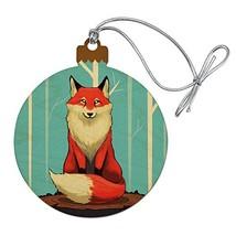 Fox on Tree Stump Wood Christmas Tree Holiday Ornament - $9.29