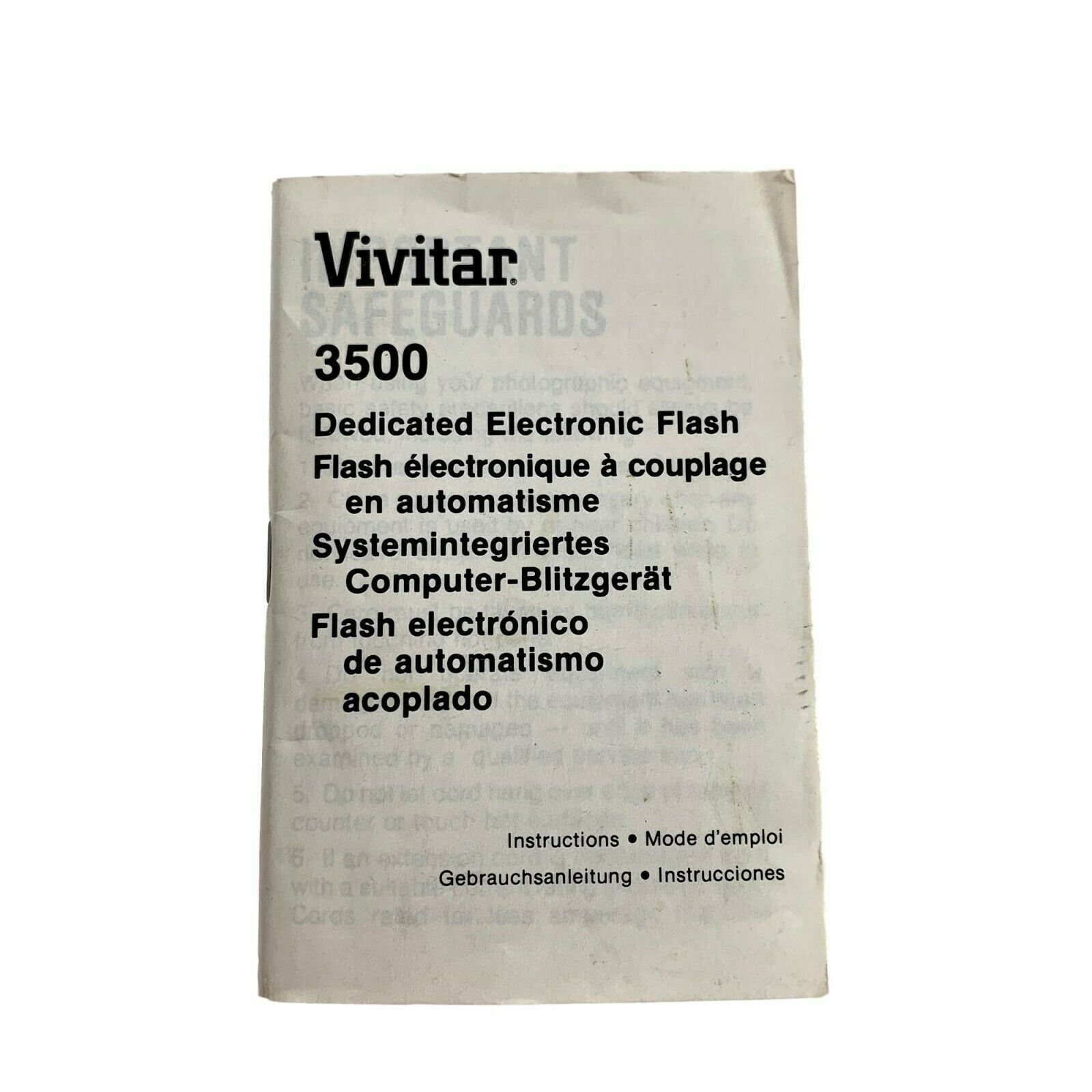 Primary image for Vivitar 3500 Dedicated Electronic Flash Instruction Manual Booklet
