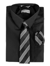 Berlioni Italy Toddler Kids Boys Long Sleeve Dress Shirt Set With Tie & Hanky image 2