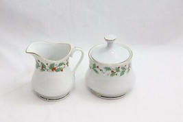 China Pearl Noel Cream and Sugar Xmas Set of 2 Brown Stamp - $24.49