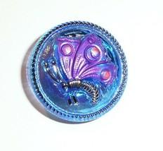 Cobalt w/AB Fin w/ Purple & Silve Butterfly Czech Glass Button 18mm Hand... - $6.99