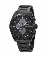 New Seiko Solar Chronograph Black IP Steel Men's Watch SSC721 - £233.12 GBP