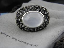 David Yurman Oval Mitternachts Méange Ring mit Mond Quarz und Diamanten Sz 7.5 - $1,097.64