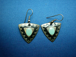 Vintage Silver Toned Black and Blue Enameled Western Dangle Earrings - $9.90
