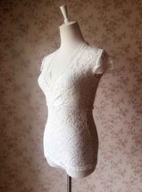 Ivory White LACE TOP  Cap Sleeve V-Neck Bridesmaid Lace Top Plus Size image 3