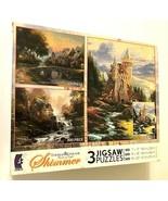 2009 Ceaco Thomas Kinkade 3 Shimmer Jigsaw 100 / 300 / 500 Puzzles Sealed - $21.77