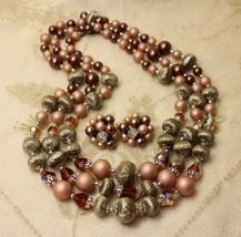Vintage Chocolate Brown AB Crystal Triple Multistrand Necklace Earrings ... - $39.59
