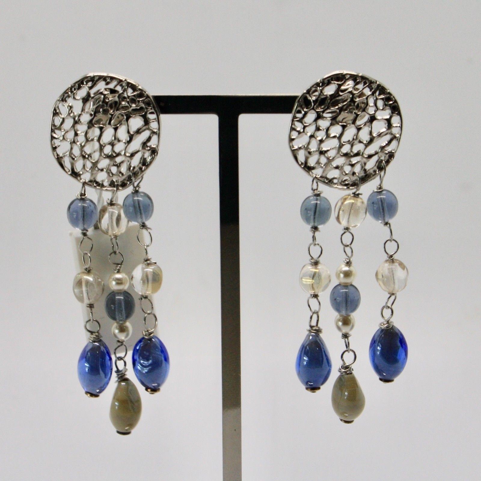 EARRINGS ANTICA MURRINA VENEZIA WITH MURANO GLASS BLUE GREY BEIGE OR571A07