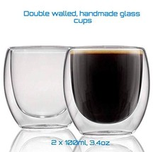 Double walled Handmade clear glass, Set of 2 Espresso cup's, 100ML, 3.4O... - £7.99 GBP