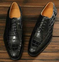 Handmade Men's Black Crocodile Texture Lace Up Dress/Formal Oxford Leather Shoes image 3