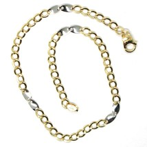 Gold bracelet yellow and white 18k 750, little chain double ovals alternandos... image 2