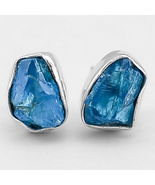 Adorable Raugh Aquamarine Studs, 925 Silver, Gift for Her - $32.00