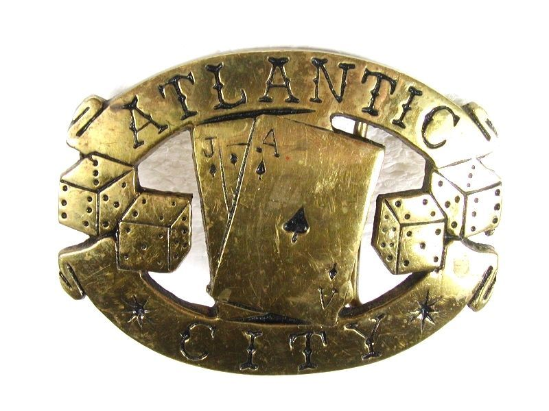 Atlantic City Ace Jack Black Jack Brass Belt Buckle Unbranded 11816 - $24.99