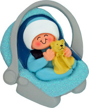 Baby Boy Ornament in Carrier Car Seat First 1st Christmas Holiday Gift K... - $13.83