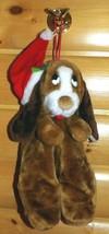 "Sad Sam Cousin Brown Puppy Dog in Santa Cap Plush 16"" Tummy Pouch Stocking - $8.29"