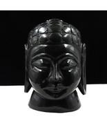 NATURAL BLACK JADE BUDDHA HEAD 8645 CTS GEMSTONE STATUE FOR HOME DECOR - $332.50